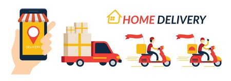 Home Delivery Service, Online Shopping,  Send by Truck and Scooter or Motorcycle Ilustracja