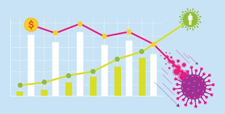 Financial Stock Market Falling Graphs, Effect from Epidemic of Coronavirus or Covid-19 Disease Ilustracje wektorowe