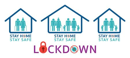 People Stay Home Stay Safe and Lockdown Pictogram Symbols, Preventive Measures, Prevention of Coronavirus or Covid-19