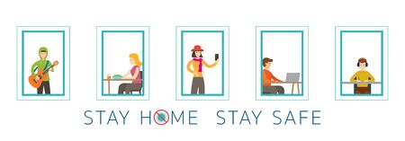 People Activity on Their Windows, Stay Home Stay Safe, Social Distancing Concept, Prevention of Coronavirus Covid-19