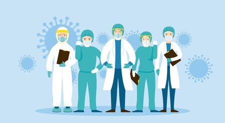 Doctors and Nurses Fight Against Covid-19, Coronavirus Disease, Hospital, Healthcare and Medical Vector Illustration