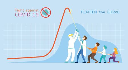 Covid-19 Flatten the Curve Concept, People Strong Together to Pull Down Graph Chart