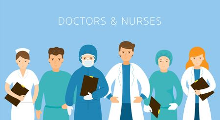 Group of Doctors and Nurses Wearing Uniform, Protective Suits, Hospital, Healthcare and Medical