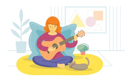 Stay at Home, Woman Playing Guitar, Quarantine, Relax, Hobby and Leisure