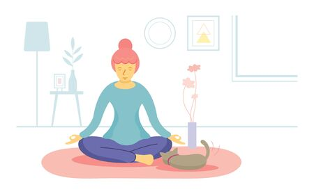 Stay at Home, Woman Playing Yoga or Meditation, Quarantine, Relax, Hobby and Leisure Ilustracja