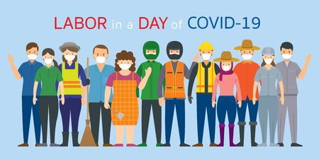 Group of Thai People Labor, Worker Wearing Face Mask, Prevention of Covid-19, Coronavirus Disease, Vectores