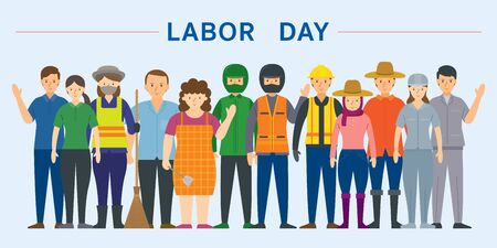 Group of Thai People Labor, Worker, Professions and Occupations, Labor Day Illustration