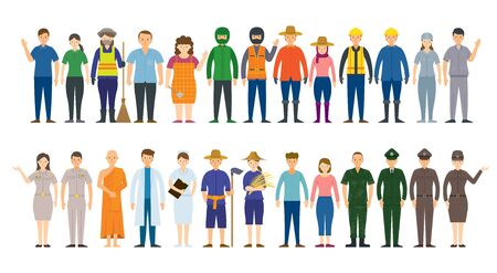 Group of Thai People Various Professions and Occupations, Career, Worker, Labor and Government Officer Ilustracja