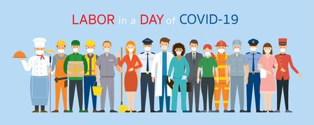 Group of People Labor, Worker Wearing Face Mask, Prevention of Covid-19, Coronavirus Disease, Vectores