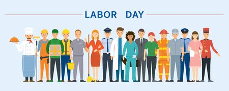 Group of People Labor, Worker, Career, Professions and Occupations, Labor Day Vectores