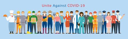 Group of People Various Professions Wearing Face Mask, Prevention, Unite against Covid-19, Coronavirus Disease Vectores