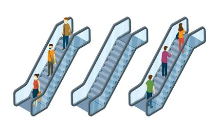 People on Escalator, Isometric View, Social Distancing, Concept, Up and Down