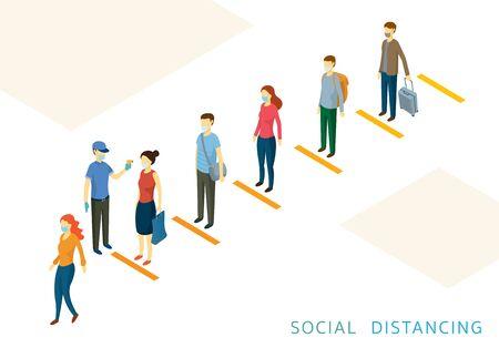 Social Distancing, People in a Row or Line, Prevention of Coronavirus Covid-19 Disease Ilustración de vector