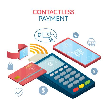 Contactless Payment Concept, Wireless with Credit Card, Smart Card, Smart Watch and Smartphone