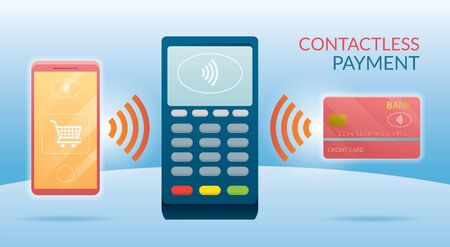 Contactless Payment Concept, Wireless with Credit Card, Smart Card and Smartphone