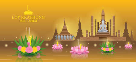 Loy Krathong Festival, Sukhothai Temple Landmark Skyline Background
