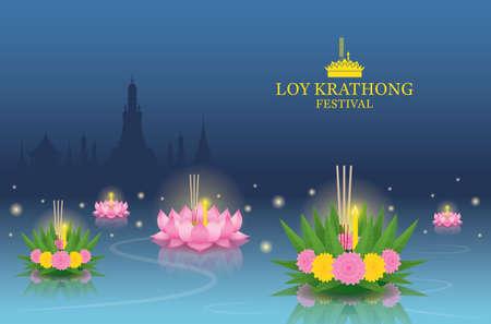 Loy Krathong Festival on the River, Temple Landmark Skyline Background 矢量图像