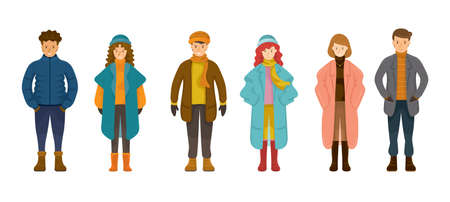 People in Winter Clothes Set, Standing and Wearing Coat, Sweater, Jacket