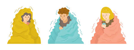 People Shivering under Blanket Set in Cold Weather and Winter Season