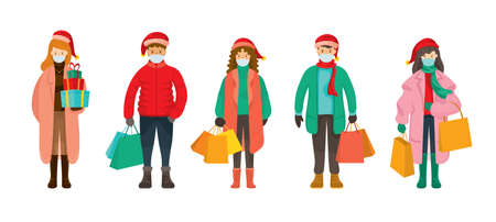 People in Winter Clothes wearing Face Mask, Christmas Shopping Concept, Prevention of Coronavirus Covid-19