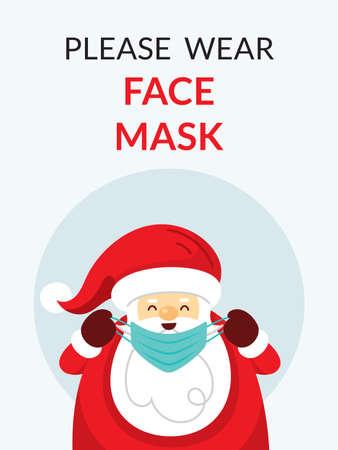 Santa Claus, Please wear Face Mask Concept, Prevention of Coronavirus Covid-19