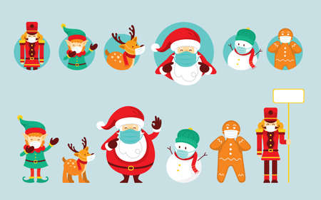 Santa Claus and Friends Wearing Face Mask, Prevention of Coronavirus Covid-19