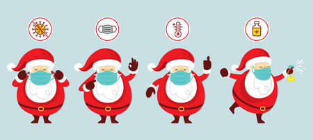 Santa Claus Wearing Face Mask Characters Set, Prevention of Coronavirus Covid-19