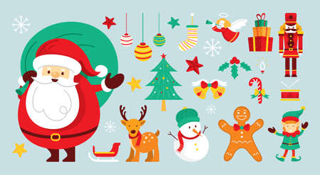 Santa Claus Characters and Friends with Christmas Ornament 矢量图像
