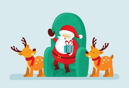Santa Claus Sitting on Chair with Reindeer, Merry Christmas and Happy New Year