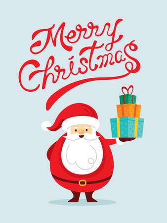 Santa Claus Characters holding Gift Box with Lettering, Merry Christmas and Happy New Year 矢量图像