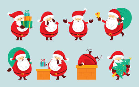 Santa Claus Characters Set, Merry Christmas and Happy New Year