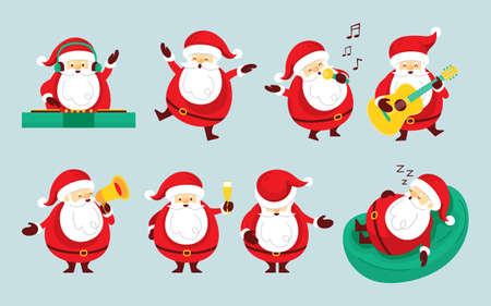 Santa Claus Characters Set, Party Concept, Merry Christmas and Happy New Year