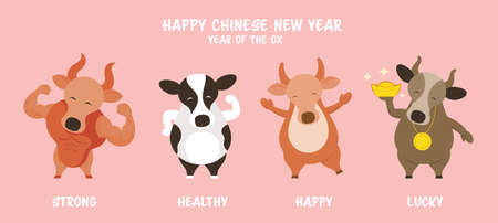 Ox Cow Bull Character Greeting, Chinese New Year, Zodiac, Holiday, Greeting and Celebration