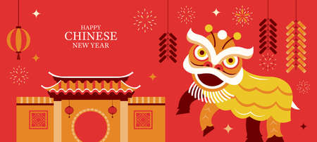 Chinese New Year, Lion Dance Character Background, Holiday, Greeting and Celebration