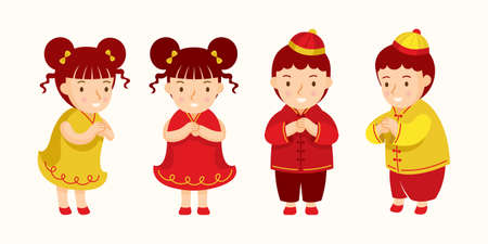 Chinese Kids Greeting or Pay Respect Characters in Traditional clothes Red and Gold Color Ilustracja