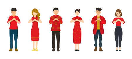 Group of People in Red Clothes, Chinese New Year, Traditional and Modern Clothes, Men and Women