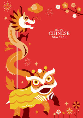 Chinese New Year Lion and Dragon Dance Character Background, Holiday, Greeting and Celebration Ilustracja