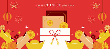 Chinese New Year Ang Pao Background, Money, Coin, Gold and Envelope