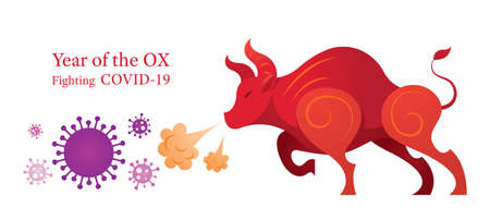 Year of the Ox, Fighting with Covid-19, Chinese Zodiac and New Year Ilustracja