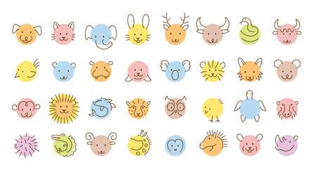 Animals Head Simply Circle Shape and Line Drawing Set, Zoo, Safari, Wild and Domestic 矢量图像
