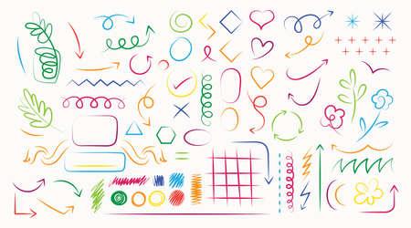 Arrow, Shape, Brush Style Hand Drawn Set, Design Elements, Ornament and Decoration 矢量图像