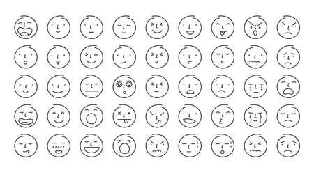 People Face Emoticon Single Line Set, Circle Shape Various Emotion and Feeling 矢量图像