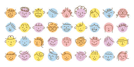 Various and Different Kids Face Single Line Set, Circle Shape Various Emotion and Feeling 矢量图像