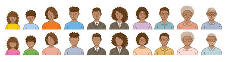 Black People Avatar Various Ages Set, Portrait, Face and No Face, Men and Women 矢量图像