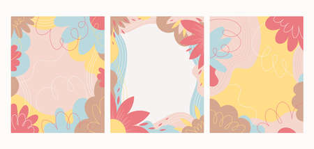 Flower and Floral Abstract Background Set, Soft Color, Beauty and Cosmetic Concept 矢量图像