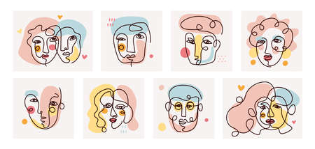 People Face Single Line Contour Drawing Set, Men and Women with Color Background 矢量图像