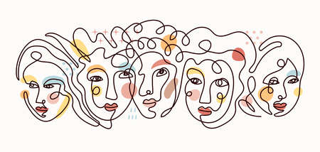 People Face Single Line Contour Drawing, Group of Women with Color Background