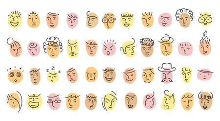 Different People Face Single Line Set, Circle Shape Various Emotion and Feeling