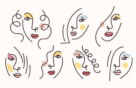 Girl Face Simply Line Drawing Set, Multinational, Various Ethnicity, Beauty and Cosmetic Concept