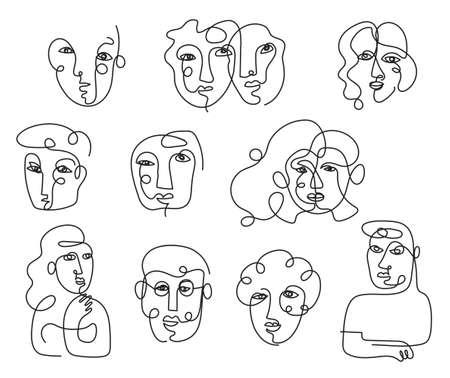 People Face Single Line Contour Drawing Set, Men and Women, LGBTQ, Multinational 矢量图像